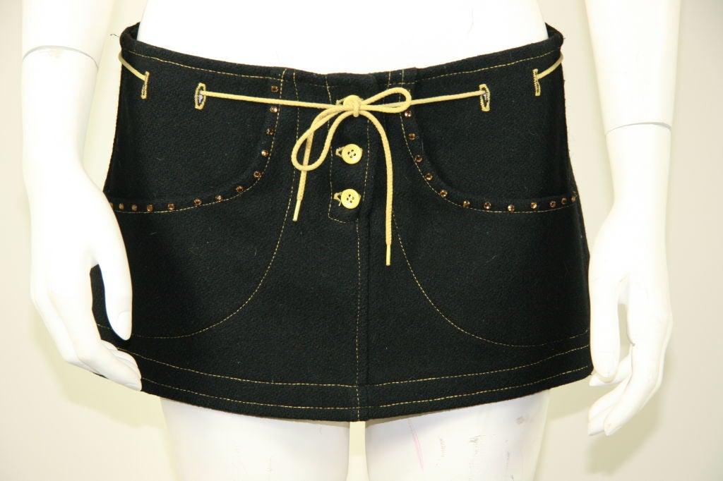 Paraphernalia 1960s Black Vest & Mini Skirt Ensemble 4
