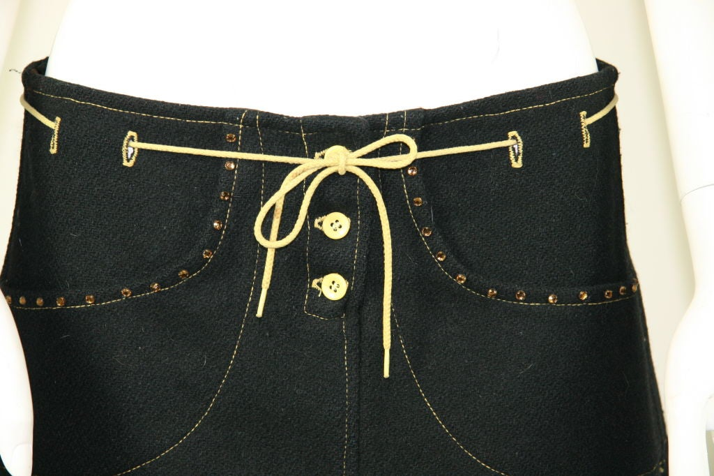 Paraphernalia 1960s Black Vest & Mini Skirt Ensemble 7