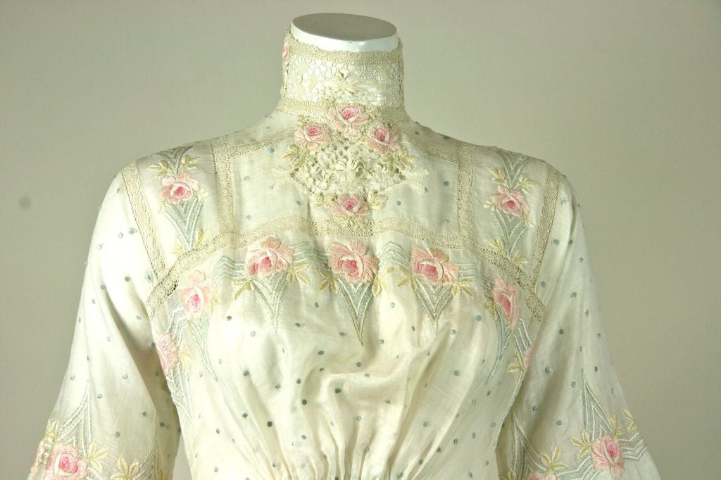 Edwardian Aesthetic Floral Embroidered White Dress With