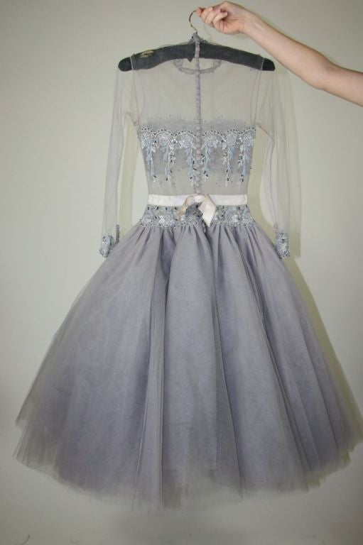 1950s Lavender Illusion Tulle Beaded Cocktail Dress For