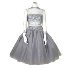 1950s Lavender Illusion Tulle Beaded Cocktail Dress