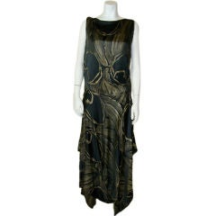1920s Black and Gold Silk Lamé Gown