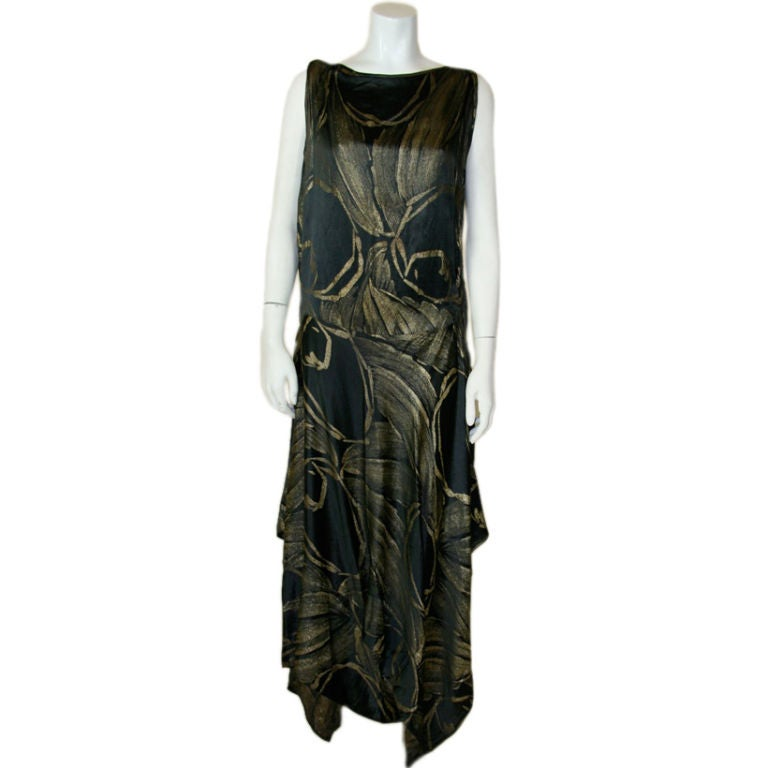 1920s Black and Gold Silk Lamé Gown 1