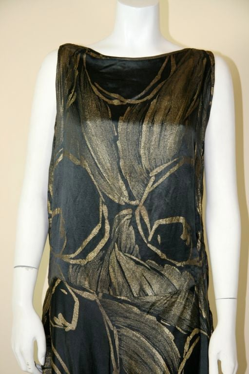 1920s Black and Gold Silk Lamé Gown 2