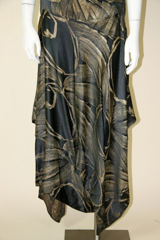 1920s Black and Gold Silk Lamé Gown 3