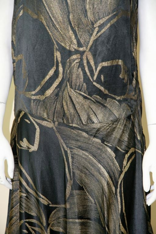 1920s Black and Gold Silk Lamé Gown 4