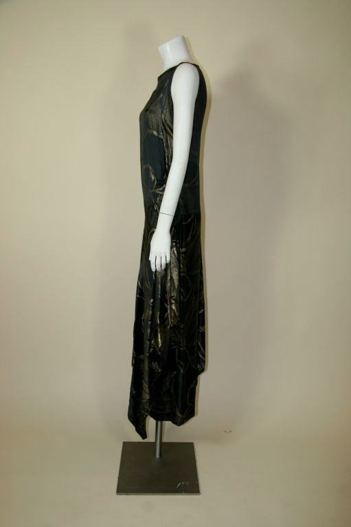 1920s Black and Gold Silk Lamé Gown 5