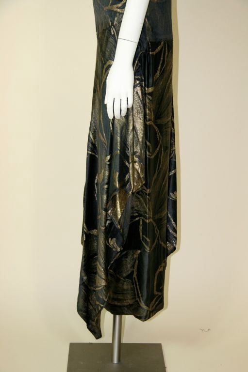 1920s Black and Gold Silk Lamé Gown 6