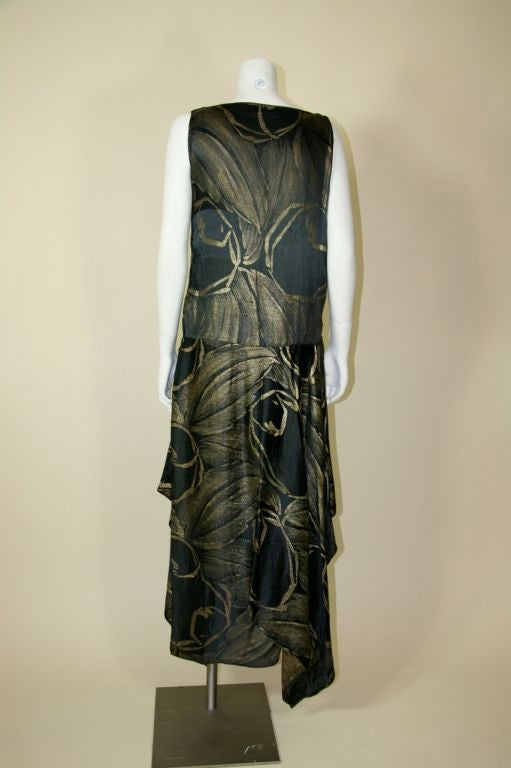 1920s Black and Gold Silk Lamé Gown 7