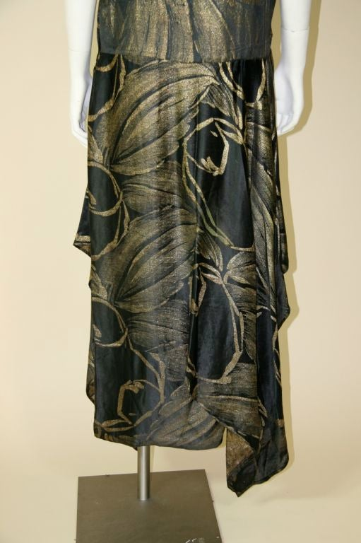 1920s Black and Gold Silk Lamé Gown 8