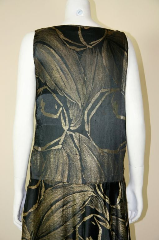 1920s Black and Gold Silk Lamé Gown 9