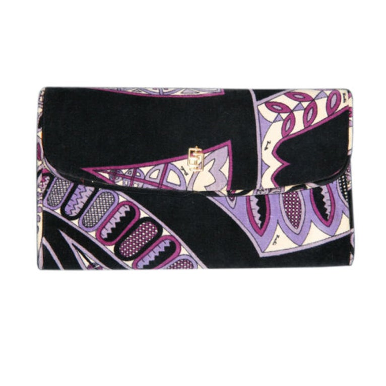 Pucci Velveteen Purple and Black Clutch 1