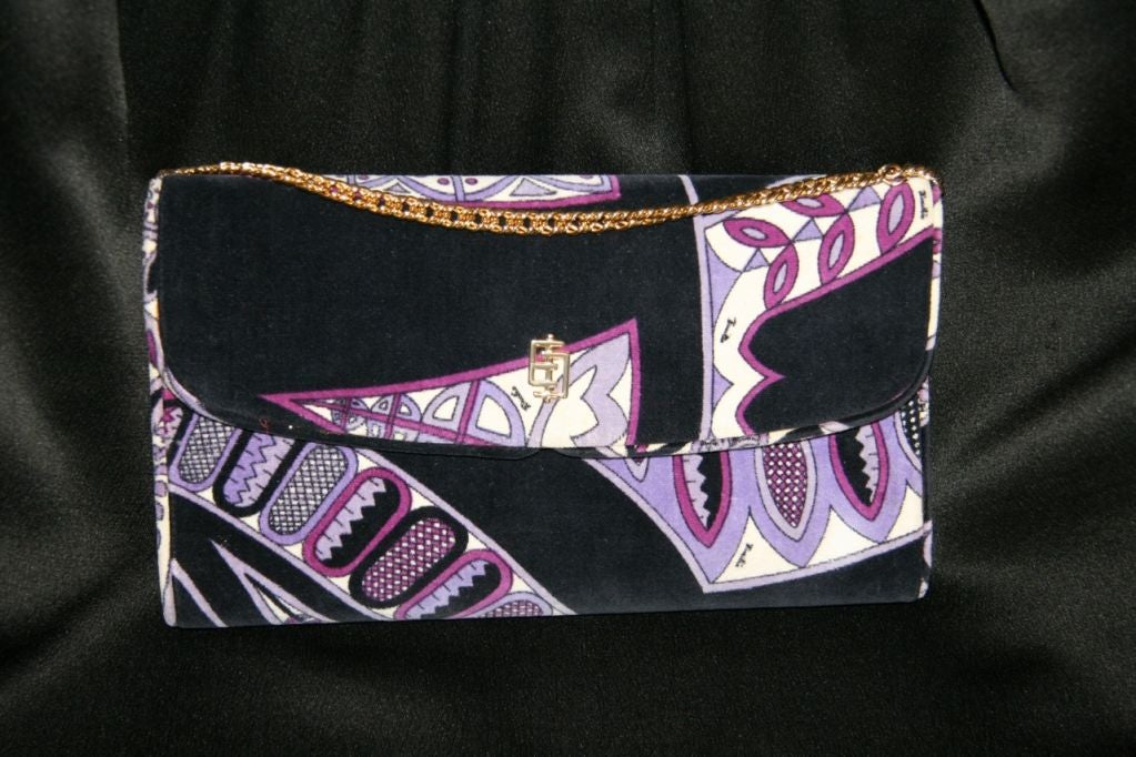 Pucci Velveteen Purple and Black Clutch 2