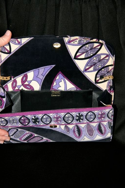 Pucci Velveteen Purple and Black Clutch 3