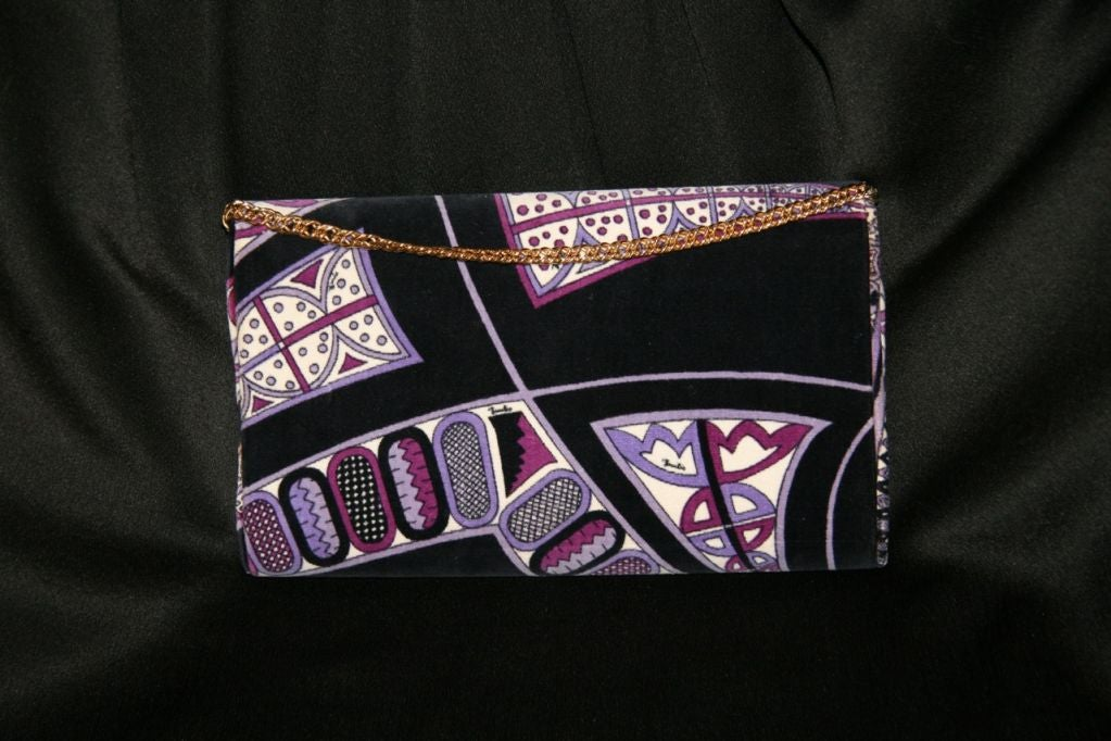 Pucci Velveteen Purple and Black Clutch 6
