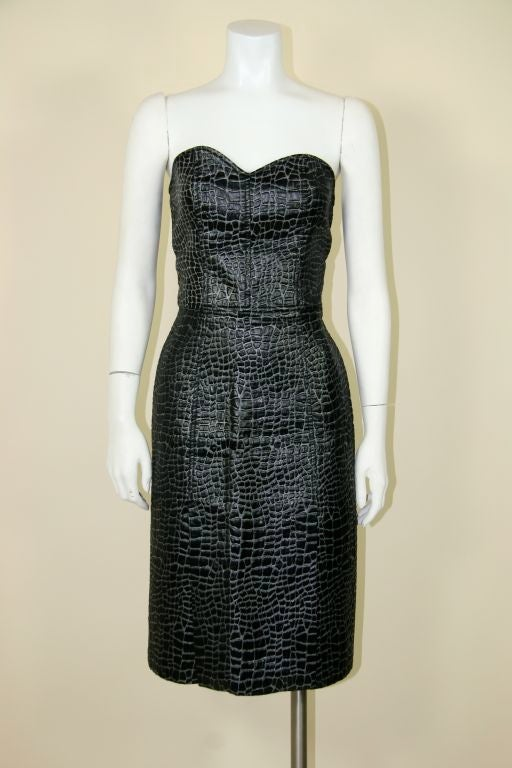 Patrick Kelly 1980s Embossed Cotton Croc Dress 2