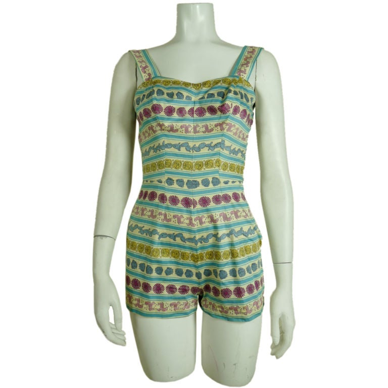 Rose Marie Reid 1950's Cotton Playsuit/Swimsuit w/Pucci Print 2