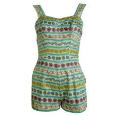 Rose Marie Reid 1950's Cotton Playsuit/Swimsuit w/Pucci Print