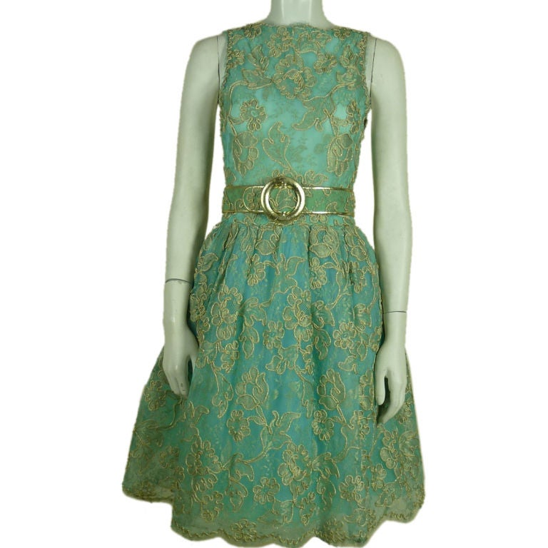 arnold scaasi blue lace dress with belt