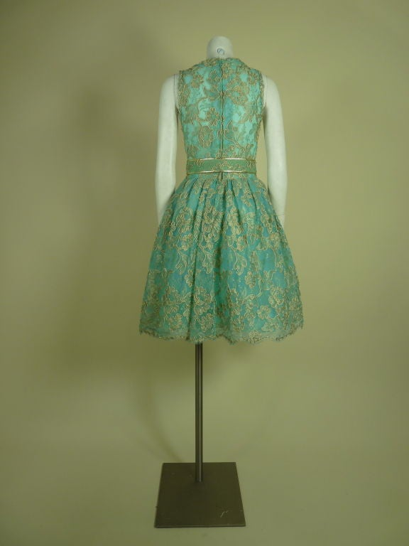arnold scaasi blue lace dress with belt at 1stdibs