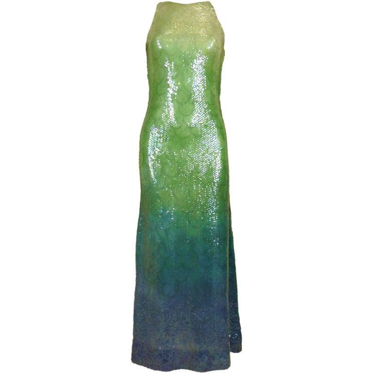 1970s Halston Ombré Sequin Mermaid Gown 1