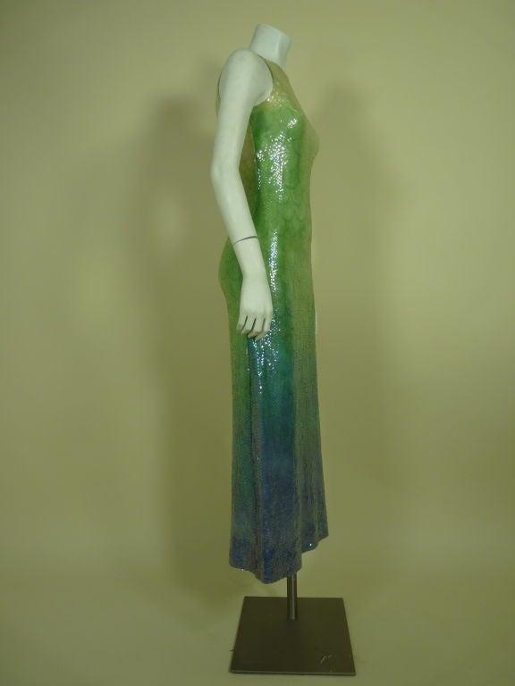 1970s Halston Ombré Sequin Mermaid Gown 2