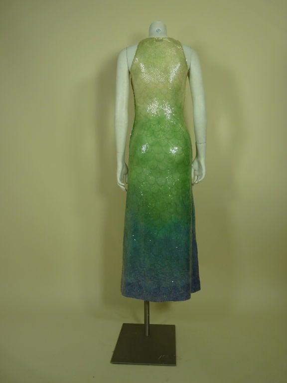 1970s Halston Ombré Sequin Mermaid Gown 3