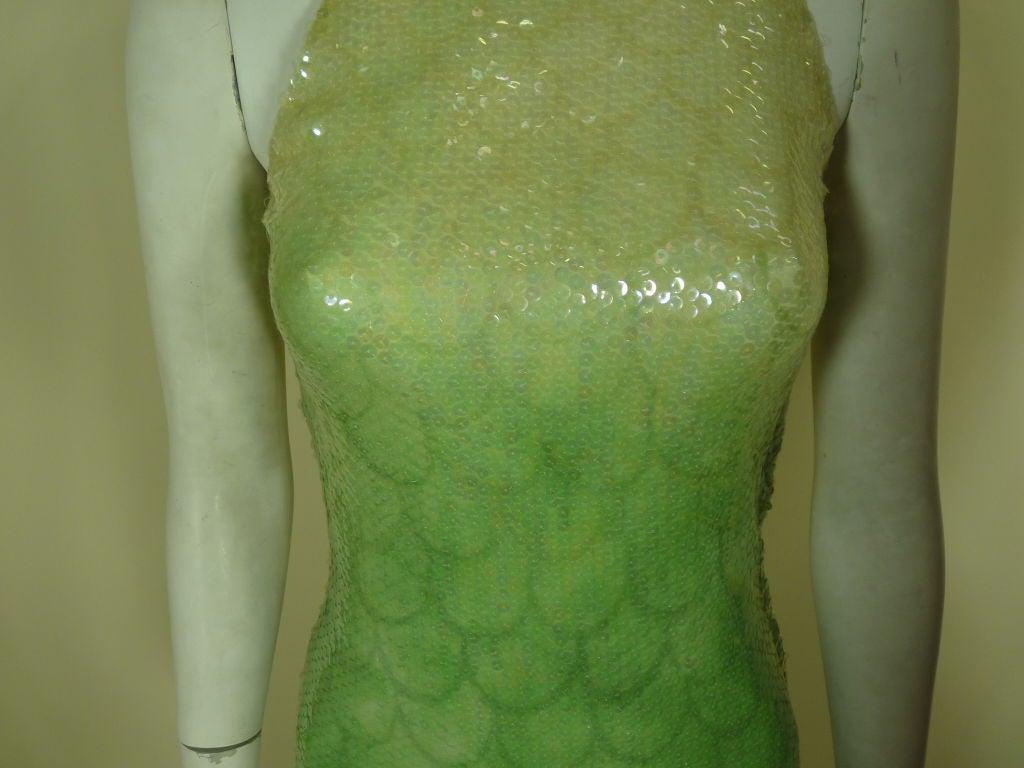 1970s Halston Ombré Sequin Mermaid Gown 4