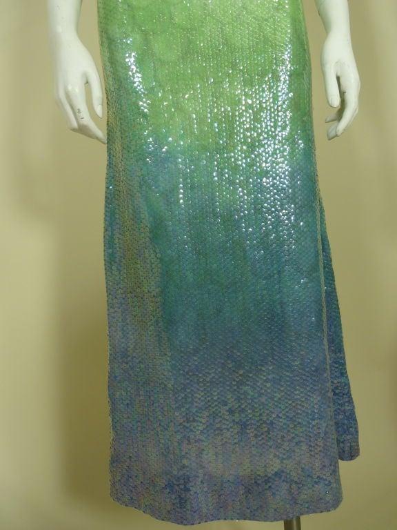 1970s Halston Ombré Sequin Mermaid Gown 5