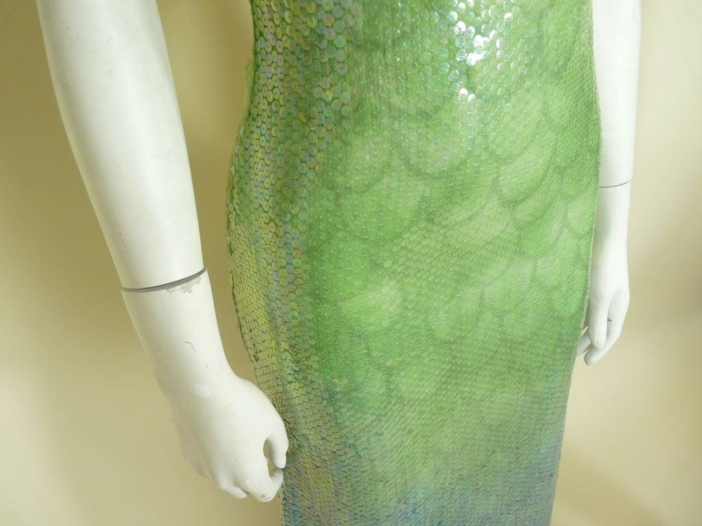 1970s Halston Ombré Sequin Mermaid Gown 6