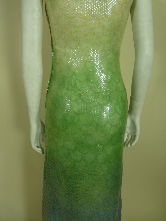 1970s Halston Ombré Sequin Mermaid Gown 7