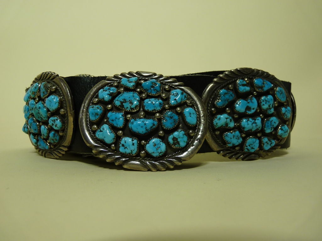 navajo sterling silver turquoise and leather belt at 1stdibs