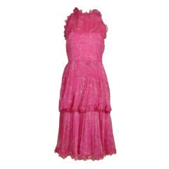 Valentino Silk Organza Halter Dress w/Tiered Skirt