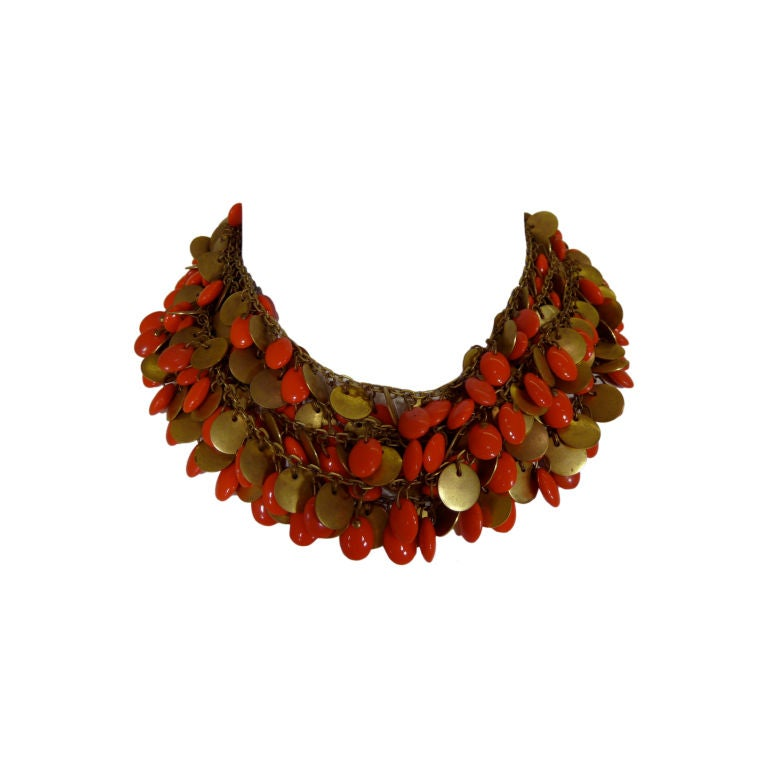 1940's Brass and Faux Coral Necklace and Bracelet Set 1