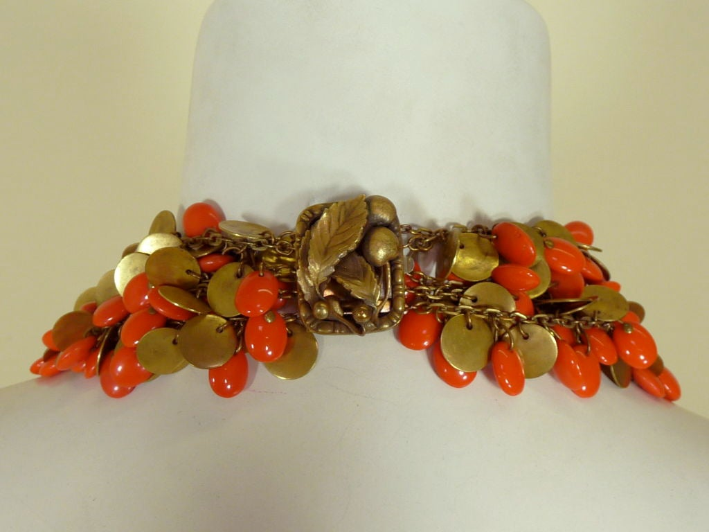 1940's Brass and Faux Coral Necklace and Bracelet Set 2