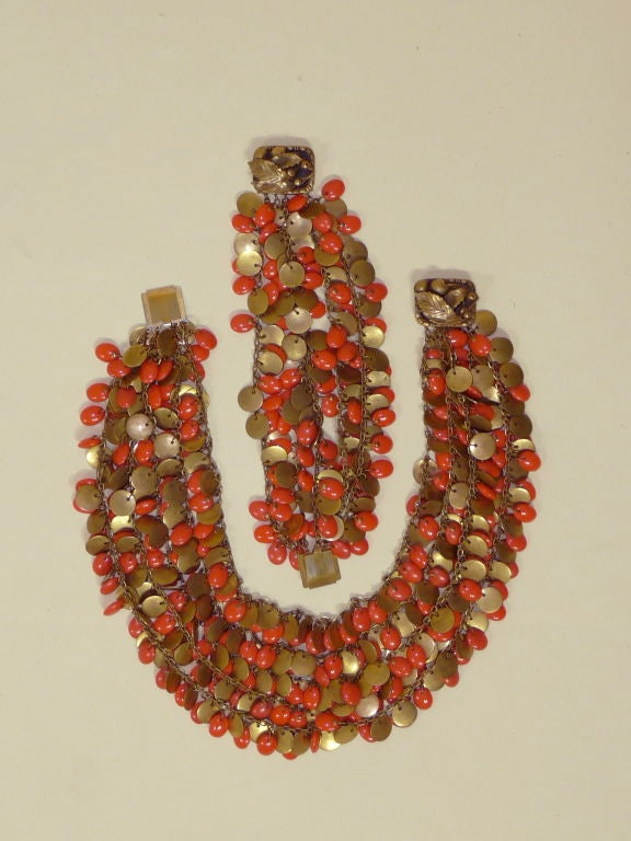 1940's Brass and Faux Coral Necklace and Bracelet Set 3