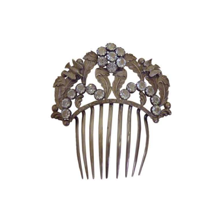 French Paste Bird and Jewel Comb