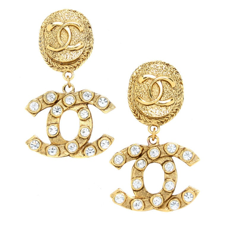 chanel logo earrings with rhinestones at 1stdibs