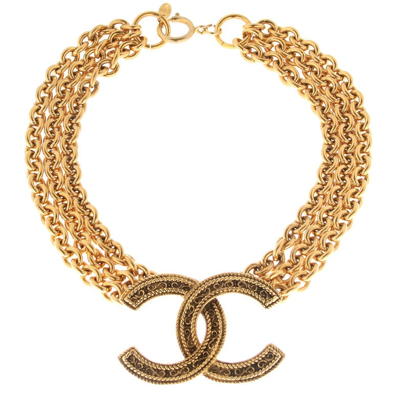 Vintage Chanel Logo Necklace At 1stdibs