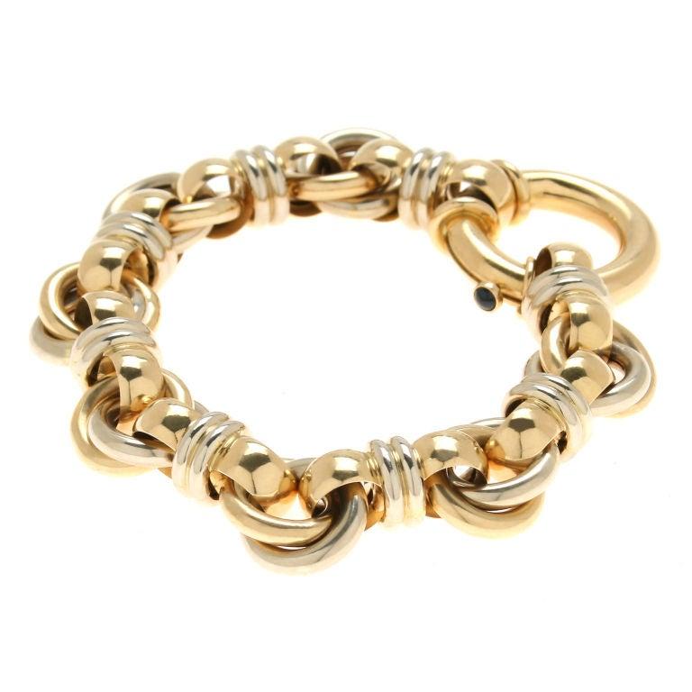 18kt gold link bracelet signed caplain paris at 1stdibs