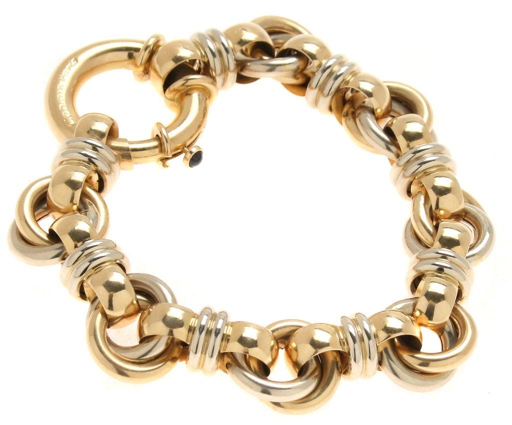 18kt Gold Link Bracelet Signed Caplain Paris At 1stdibs. Single Necklace. Men Bangles. Beautiful Bangles. Oval Earrings. Hammered Bracelet. Neck Necklace. Man Necklace. Marquise Diamond Rings