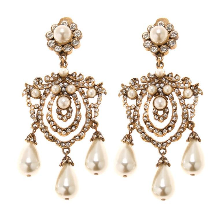 Vintage Kenneth Jay Lane Early Chandelier Earrings at 1stdibs – Vintage Chandelier Earrings