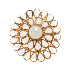 Beautiful CHANEL  Poured Glass  and Pearl Brooch  or Pendant