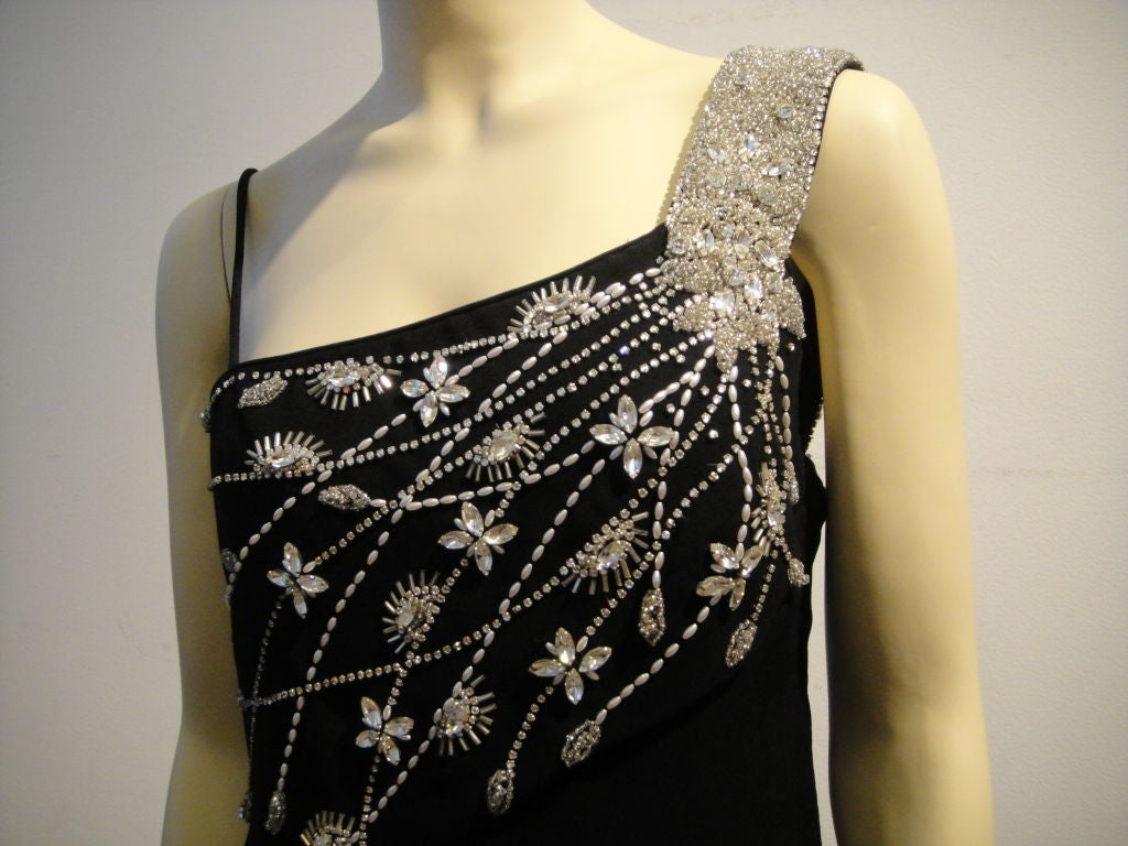 Women's Mr Blackwell Bejeweled Crepe Column For Sale