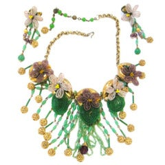 Extravagantly Whimsical Miriam Haskell Demi-Parure