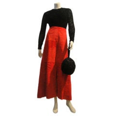 2-Piece Givenchy 70s Red Broadtail and Crochet Chenille Bodysuit