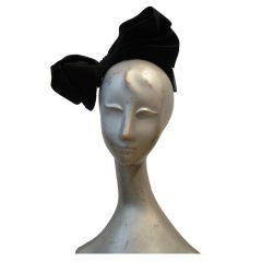 Flirty 50s Black Satin Bow Hat