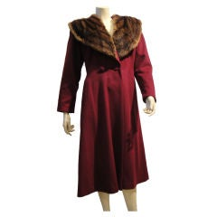 1940s Burgundy Wool Coat w/ Mink Shawl Collar