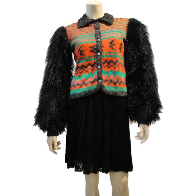 Sant' Angelo Faux Fur Sleeve Ethnic Knit Jacket