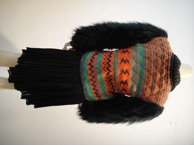 Women's Sant' Angelo Faux Fur Sleeve Ethnic Knit Jacket